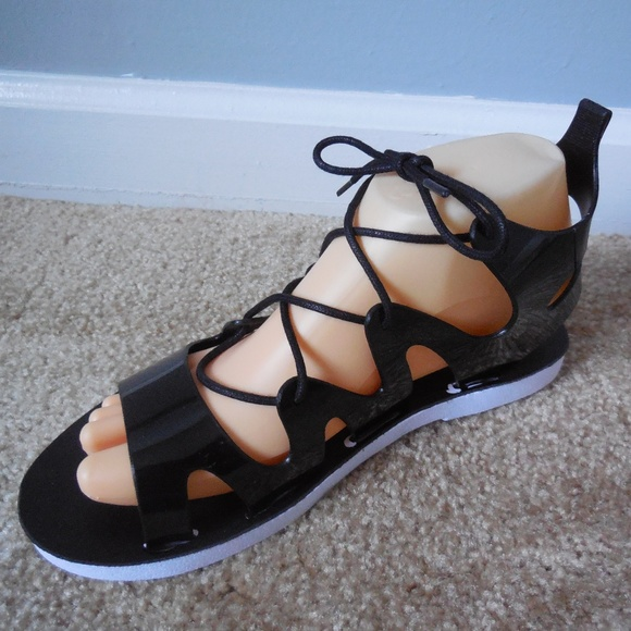 5d134efbae3 Black Jelly Adjustable Lace Up Gladiator Sandals. NWT. BAMBOO